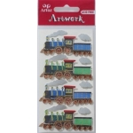 Artwork Handmade 3D Sticker Embellishments. TRAINS