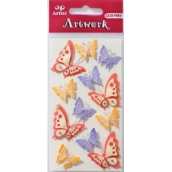 Artwork BUTTERFLIES Multi Handmade 3D Sticker Embellishments.