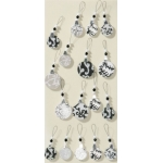 Artwork XL Handmade 3D Stickers Christmas Embellishments, Black & White Baubles