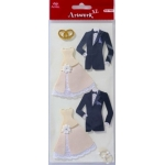 Artwork XL WEDDING ATTIRE Handmade 3D Sticker Embellishments.