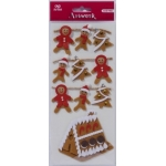 Artwork XL Gingerbread Cookies & House Handmade 3D Stickers Christmas Embellishments,