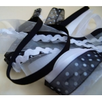 Debbi Moore BLACK & WHITE Fancy Ribbons Combo, 5 x 1m