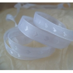 25m Reel.  Woven Heart SATIN RIBBON.  10mm Wide. WHITE