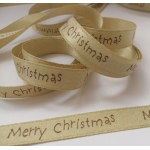 By The Metre.... 'Merry Christmas' Sparkle Ribbon 11mm. GOLDEN BEIGE