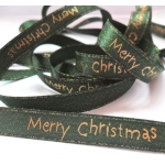 By The Metre.... 'Merry Christmas' Sparkle Ribbon 11mm. GREEN