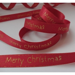 By The Metre.... 'Merry Christmas' Sparkle Ribbon 11mm. RED