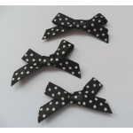 24 Ribbon Bows. 30mm Polka Dot. Black & White