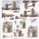 3D Decoupage Sheet LONDON Landmarks, Tower Bridge & Buckingham Palace