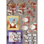 Dufex 3D Decoupage Sheet, Christmas Santas & Penguins