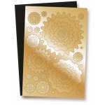 Die Cut Toppers A4, COGS GEARS Gold Mirror & Matt Black