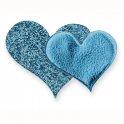 Pack 12 Glitter Double Hearts, Self Adhesive embellishments. Blue TURQUOISE