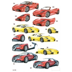 3D Die Cut Decoupage Sheet SPORTS CARS in red & yellow