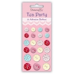 Dovecraft TEA PARTY Adhesive Buttons  Pack 22 Sticky Button Embellishments