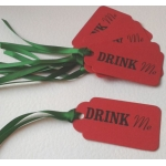 6 Handcrafted Gift Tags, Red DRINK ME Tags
