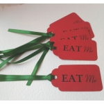 6 Handcrafted Gift Tags, Red EAT ME Tags