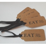 6 Handcrafted Gift Tags, Brown Buff EAT ME Tags
