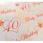 Gift Wrap Paper  RUBY ANNIVERSARY, 40th Wedding