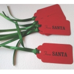 6 Handcrafted Gift Tags, Red FROM SANTA Tags