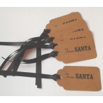 6 Handcrafted Gift Tags, Brown Buff FROM SANTA Tags
