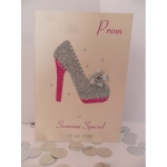 Handcrafted Card Cerise Silver Ivory STILETTO PROM Formal *Wording Options*