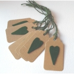6 Handcrafted Rustic Gift Tags, Green TROY Tags