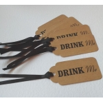 6 Handcrafted Gift Tags, Brown Buff DRINK ME Tags