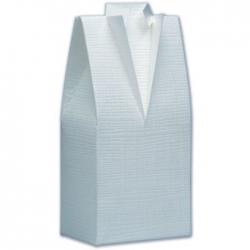 10 Tuxedo Favour Boxes, male theme, in White Silk