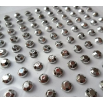 Pack 100 SILVER / OPAQUE Bling rhinestones faux gems. Self-adhesive. 4mm