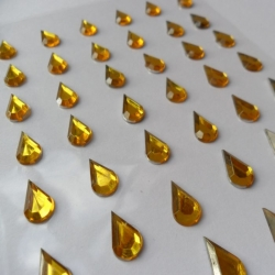 Pack 48 GOLD/CLEAR Teardrop Bling  rhinestone faux gems Self Adhesive 12mm
