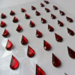 Pack 48 RED/CLEAR Teardrop bling rhinestone faux gems, Self Adhesive, 12mm