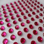 Pack 100 FUCHSIA PINK / CLEAR bling rhinestone faux gems, Self Adhesive. 3mm