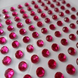 Pack 100 FUCHSIA PINK / CLEAR bling rhinestone faux gems, Self Adhesive. 3mm