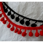 By the METRE, Bobble/Pom Pom Fringe, RED