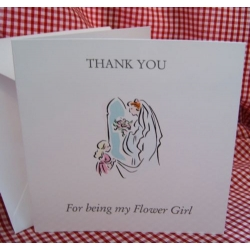 Thank you - FLOWER GIRL Card with envelope (#6) Can be personalised.
