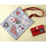 BUTTON BAG Sewing Kit.  Contains all you need to make a fabric shoulder bag & felt purse