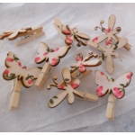 "Decorative Mini Wooden Pegs 25mm (1"") Butterflies,Dragonflies, pack of 12"