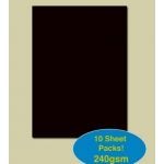 A4 Pack PLAIN CARD. 240gsm. BLACK.  Qty:  10
