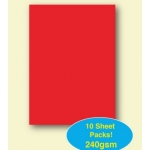 A4 Pack PLAIN CARD. 240gsm. RED.  Qty:  10