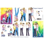 3D Decoupage Sheet TEENAGE GIRLS Dancing, Hanging Out