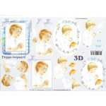 3D Decoupage Sheet PRAYING BOYS Christening, Confirmation Communion