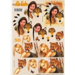 3D Decoupage Sheet INDIAN MAIDEN with WOLVES WILDCATS
