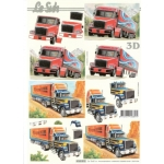 3D Decoupage Sheet TRUCKS American Road Train, outback truckers