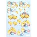 3D Die Cut Decoupage Sheet, EASTER CHICKS