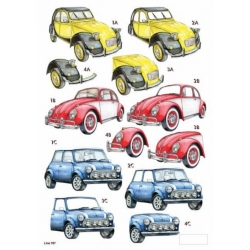 3D Die Cut Decoupage Sheet RETRO CARS