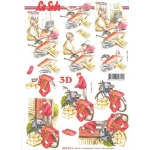 3D Decoupage Sheet POSTMAN and Office Worker