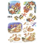 3D Decoupage Sheet TROPICAL FISH Angel and Clown Fish