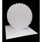 Pack of 4 Large Snowflake Embossed Round Cards with 8x8 envs