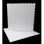 Pack of 4 Large Snowflake Embossed Square Cards with 8x8 envs