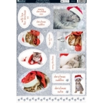 Kanban CHRISTMAS KITTENS Die cut Toppers Sheet A4