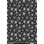 A4 Backing Background Card BLACK SNOWFLAKES